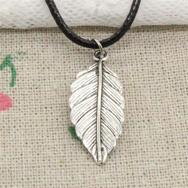 Nova moda tibetana pingente de prata folha 31 * 12mm colar choker charme cordão de couro preto jóias artesanais