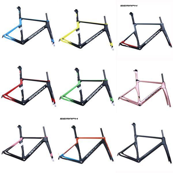 Seraph Painting 700C Road Bike Carbon Fiber Stiff Aero Racing Bicycle Frame+Fork+Seat Post+Clamp Frameset road carbon bike