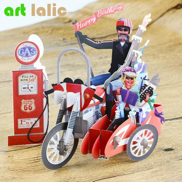 Großhandels-Geburtstag Motorrad Fahrrad 3D Papier Laser geschnitten Pop-Up handgemachte Postkarten benutzerdefinierte Geschenk Grußkarten Souvenirs Party liefert
