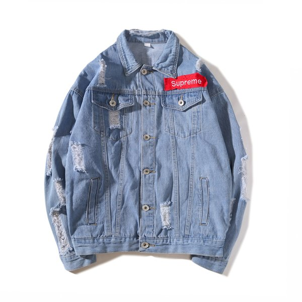 2018 Spring Autumn Man Casual Denim Jacket Button Vintage Brand Jackets  Letters Streetwear Fashion Classic Basic