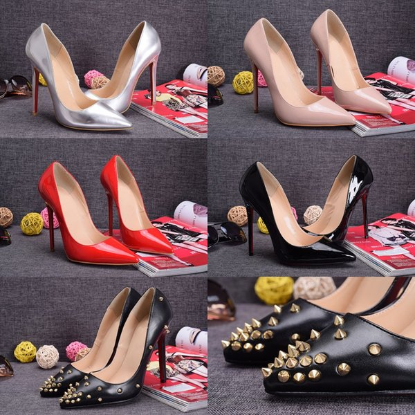 Fashion New Style Womens Sexy Shoes 12cm High Heels Wedding Shoes With Thin Heels 35-41 Red Silver Nude Black Free Shipping Mix Order