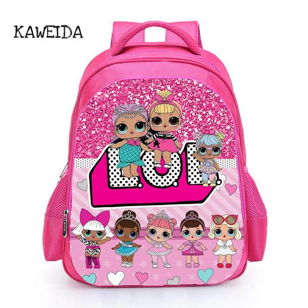 Kids LOL Doll School Bag Pink LOL Pets Dolls glitter series 4 Book Bags Backpack for Girls Cute Custom Name Printed Schoolbag UK Y18110107