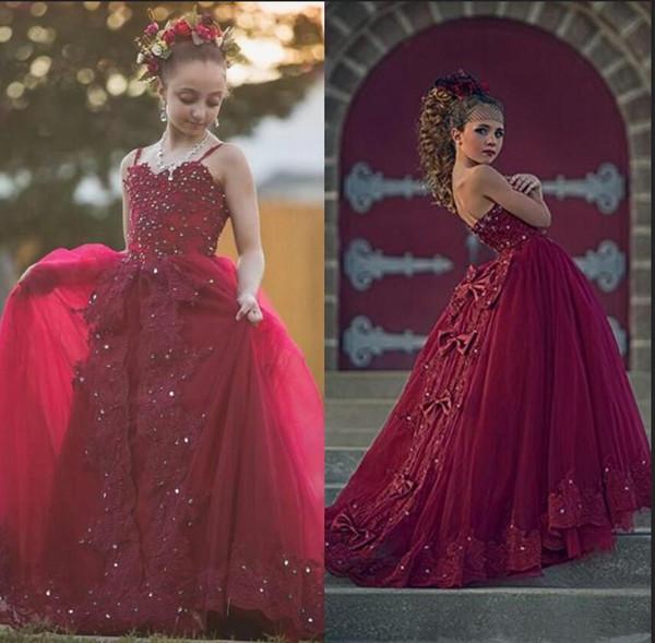 2020 abiti Nuova Borgogna fiore ragazza abiti per Matrimoni spalline in pizzo in rilievo di cristallo delle perle ragazze Pageant Prom Dress bambini Comunione