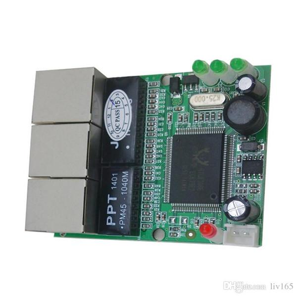 mini 3 porte ethernet switch 10 / 100mbps rj45 switch di rete hub scheda pcb board per l'integrazione del sistema