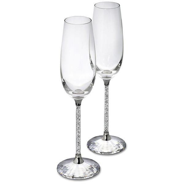 250ML Champagne Flutes Wine Glass Crystalline Luxury Wedding Party Toasting Glasses Goblet Crystal Rhinestones Design H1003