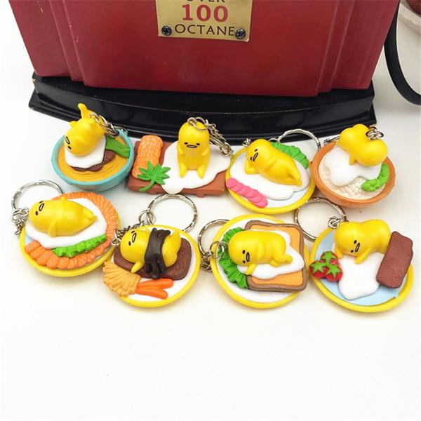 Criativo Amarelo 2-3 Cm Falso Forma de Ovo De Plástico Chaveiro Chaveiro Único Saco Das Mulheres Telefone Pingente de Chave Chaveiro Randaom Tipo