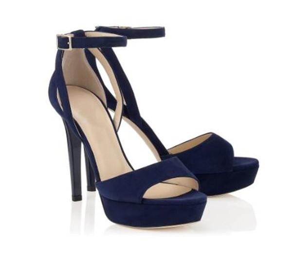 Compre Moda Para Mujer Sandalias De Verano De Color Sólido Peep Toe Correa Del Tobillo Plataforma Hebilla Cubierta Tacón Azul Marino Marrón Tacón De