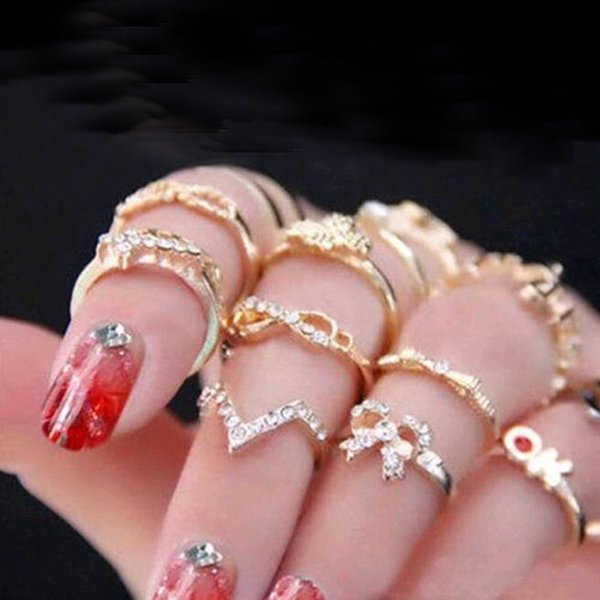 Wedding rings sets 1 Set 7 pcs Women's Bowknot Knuckle Midi Finger Tip Stacking Rhinestone Rings Rhinestone Knuckle Midi Rings