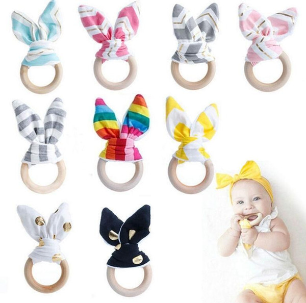 Wooden Teether INS Baby Wood Circle With Rabbit Ear Fabric Newborn Teeth Practice Toys Training Ring KKA4088