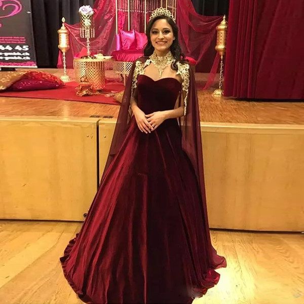 Newest Burgundy Ball Gown Evening Dresses with Cape Sweetheart Velvet Skirt Dubai Prom Gown Long Pageant Dress