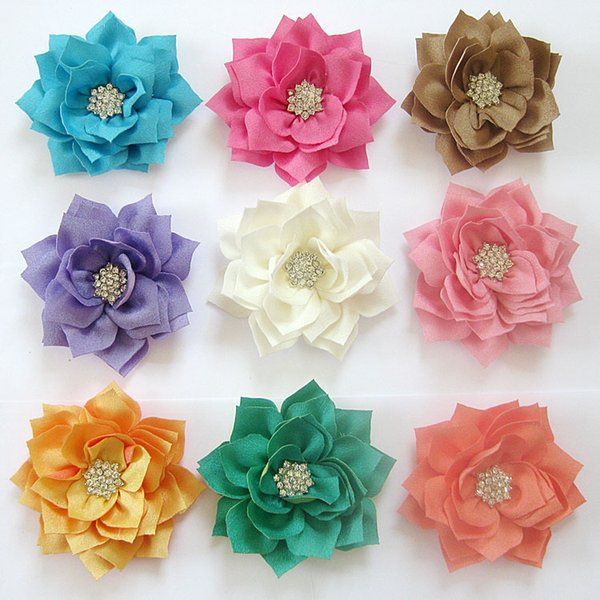 DIY Baby Headbands Baby Girl Lotus Flower Hairbands Children Hair Accessories Toddler Rhinestone pointed Flower without hair clips