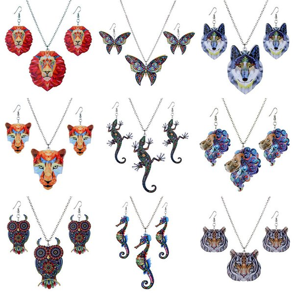 New Colorful Acrylic Animal Pendant Necklace and Earrings Set Fashion Jewelry Gift for Women Girl T2C319