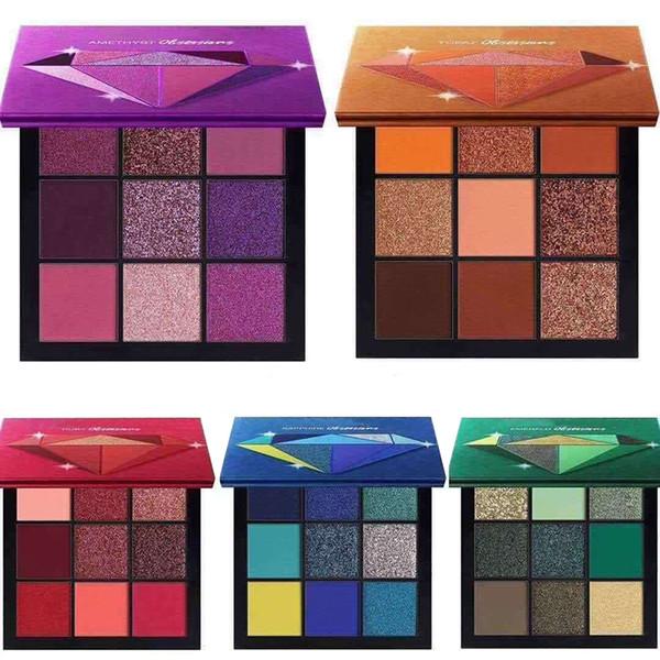 Neueste heiße Farbe der Make-upmarken-Schönheits-Palette 9 Miniaugenschminkepalette 5 Artsternfarben Augenschminkentopas-Amethyst-karminroter Smaragd-Saphir