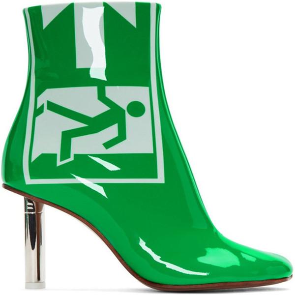 Vert Mujer Aiguilles Chaussures Signes Cheville Bottines Verni Métal Sortie Talon Talon Cuir Femmes Briquet Acheter Botas Talons Femme Bottes De Haut kXZiuP
