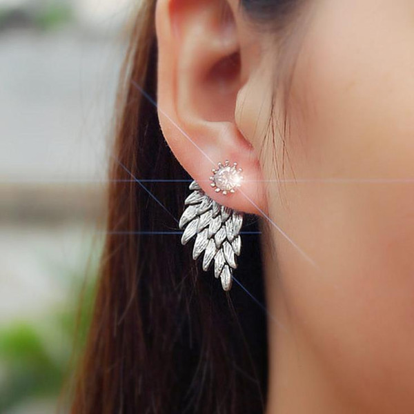 Retro 3D angel wings, earrings, feather, diamond Pierced Earrings