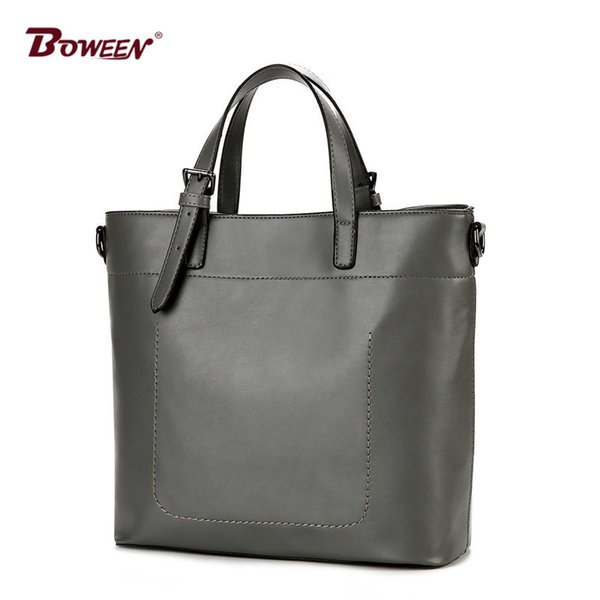 European style women tote bag gray fashion Large Capacity solid pu leather shoulder bag Ladies handbag high quality lady