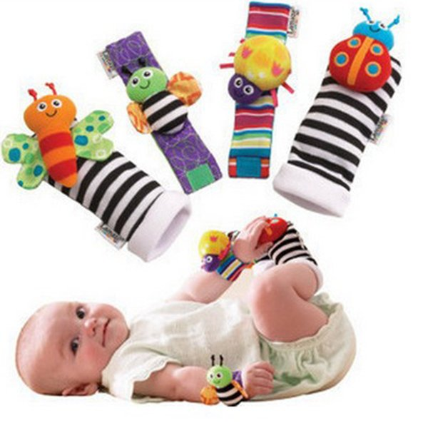 2017 New arrival sozzy Wrist rattle & foot finder Baby toys Baby Rattle Socks Lamaze Plush Wrist Rattle+Foot baby Socks 1000pcs STY094