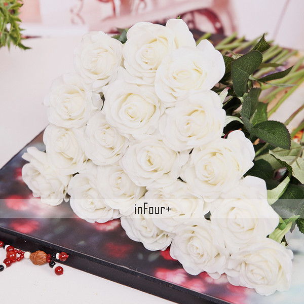 New Real Touch White Rose Silk Latex Artificial For Wedding Decoration Fake Flowers Valentines Day Gifts C18111501