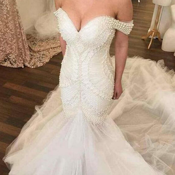 2019 Fabulous Mermaid Wedding Dresses Luxury Pearls Beading Fit and Flare Trumpet Bridal Gowns Tulle Skirt Custom Made Top Quality