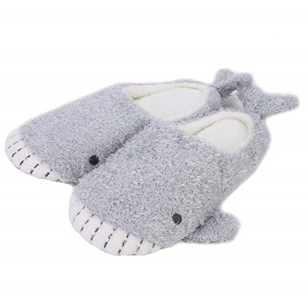 Baleine mignonne pantoufles en peluche fille japonaise requin en peluche fond mou intérieur maison pantoufle de coton plat