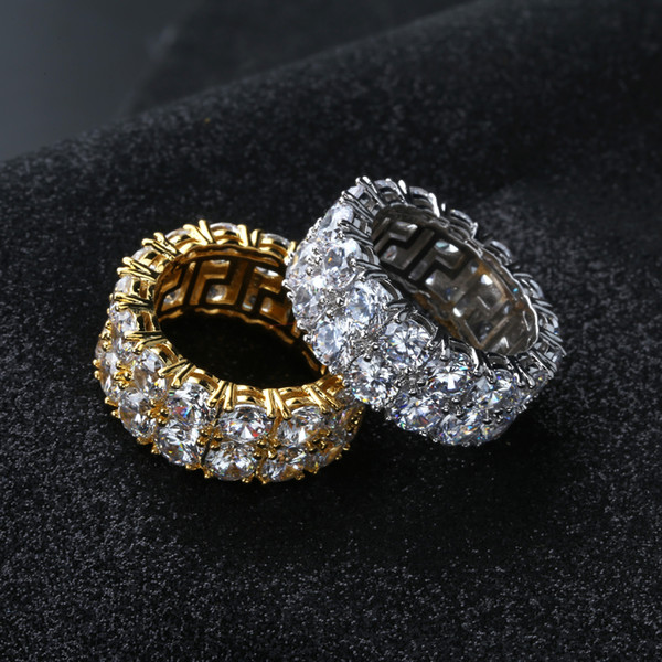 best selling 7-12 Gold Silver Color Plated Rings Micro Paved 2 Row Tennis Rings Zircon Hip Hop Finger Ring for Men Women