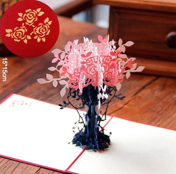 50 adet El Yapımı 3D Kartpostallar Pop up kartları ile Özel Kübik Tebrik kartları Çiçek Ağacı Tasarım Doğum Günü Hediyesi Post Kart Ücretsiz DHL SN1507
