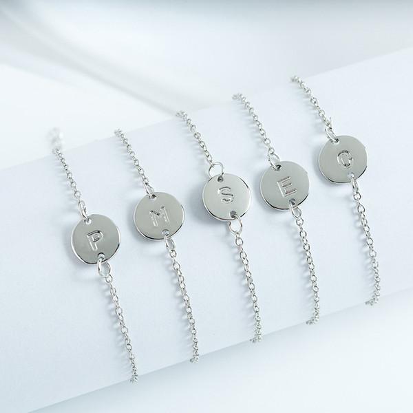 Bijoux en argent à la mode Anglais Lettre A B C D E F G H I J K L M O P Q R T U V W X Y Z Bracelet
