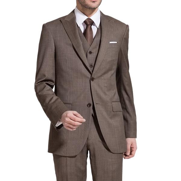 Alta Qualidade Dois Botões de Luz Marrom Noivo Smoking Pico Lapela Groomsmen Melhor Homem Ternos de Casamento Dos Homens Ternos (Jacket + Pants + colete + Gravata) NO: 1191