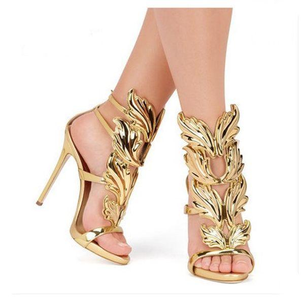 Metallic Winged Gladiator Women Sandals 2018 High Heels Brand Sandals Summer Shoes Woman Sandalias Ladies Party Shoes Pumps