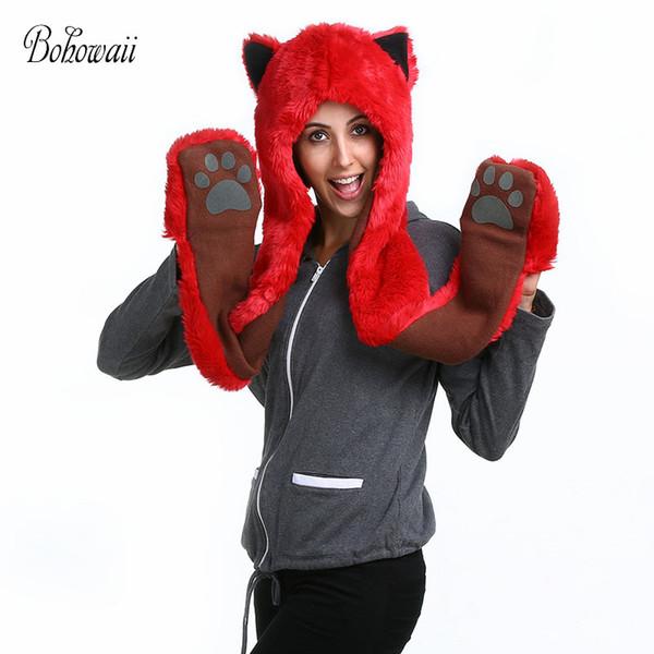 BOHOWAII Faux Fur Hood Animal Hat and Scarf Set For Woman Men Winter Warm Mutsen En Sjaals Dames