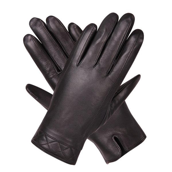 Leather Gloves Man Winter Keep Warm Thicken Plus Velvet Business Driving Motorcycle Touchscreen Sheepskin Gloves Male M18006NC-9