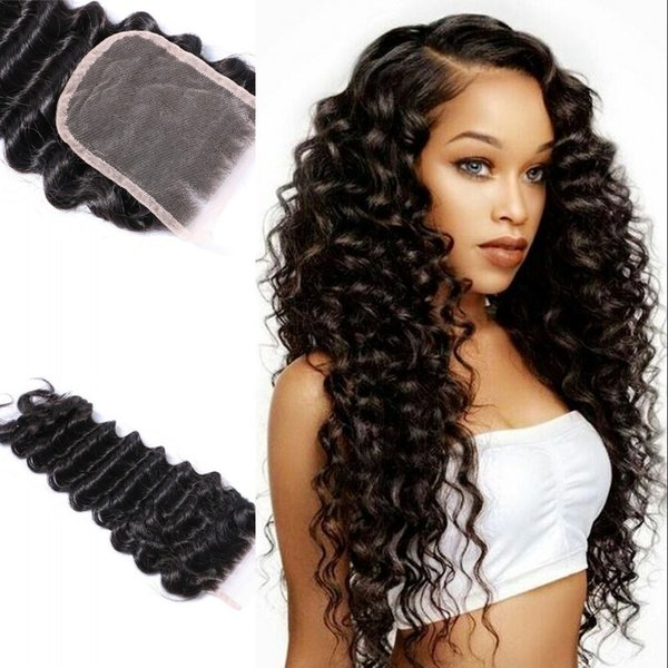 Cambodian Human Hair Deep Wave 4x4 Lace Closure Human Hair Peruvian Brazilian Indian Human Hair Free Middle Three Part Fast Shipping FDSHINE
