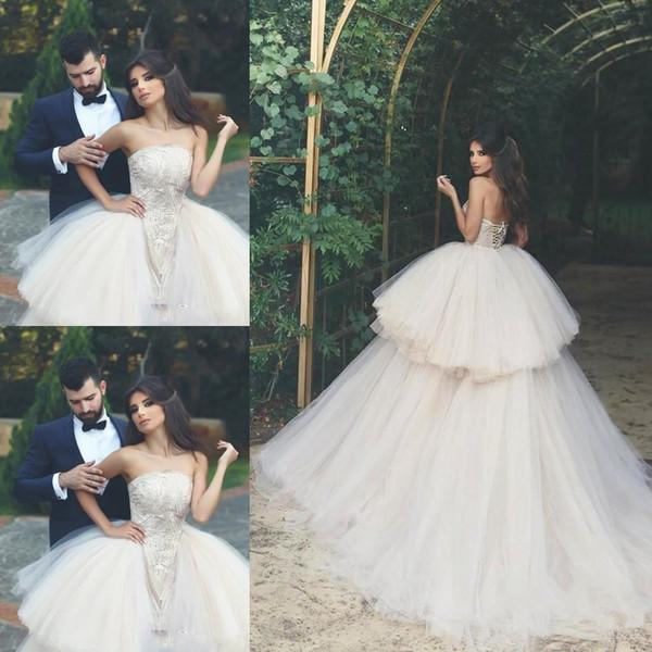 Detachable Skirt Wedding Dresses Strapless Lace Satin Tulle Tiered Skirt Ball Gown Romantic Bridal Gowns Vestido de Nova Custom Size