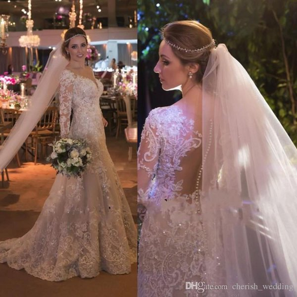 Wedding Dresses 2017 Bling Modest Illusion Back Lace Plus Size Mermaid Trumpet Bead V-Neck Boho Wedding Bridal Gowns With Long Sleeves