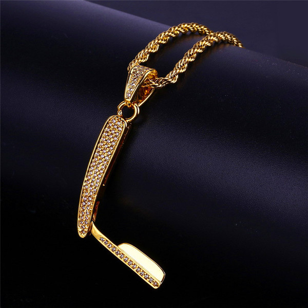 Hiphop Knife Necklace For Men Hot Sale Fashion Hip Hop Gold Jewelry Cool Ice Out Zirconia Pendant Necklaces