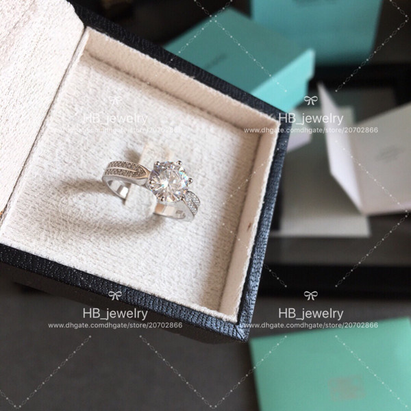 High version six claw 2 karat diamond ring with T Luxury brand 925sterling silver,couple rings women marry wedding engagement gift with box