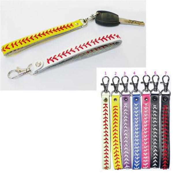 Yeni Softbol Anahtarlık Deri Takılar Yeni Varış Beyzbol Anahtarlık Yenilik Öğeleri Moda Aksesuarları Beyzbol Dikiş Anahtarlık