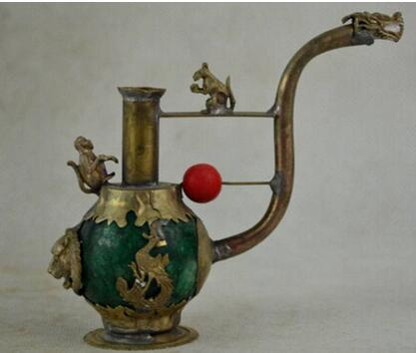Collectible Decorated Tibet Silver Work Green Jade Dragon Phoenix Smoking Pipe Free Shipping