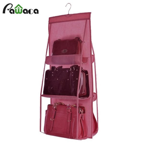 Folding 6 pockets Durable Backpack handbag Storage Bags for bags Shoes and clothes saving space Closet Rack Hangers organizer