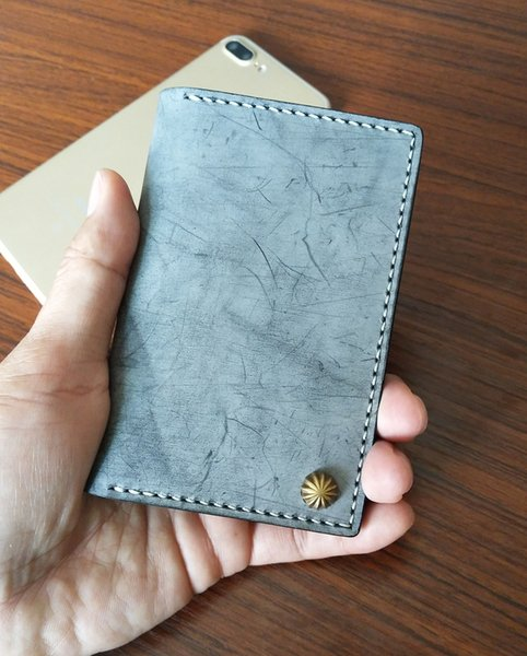 Free shipping Ancicraft Wallets For Men Blue Leather Handmade Vintage Simple Wallet Card Holder Lover Gift Nature 6 CARD LEATHER WALLET
