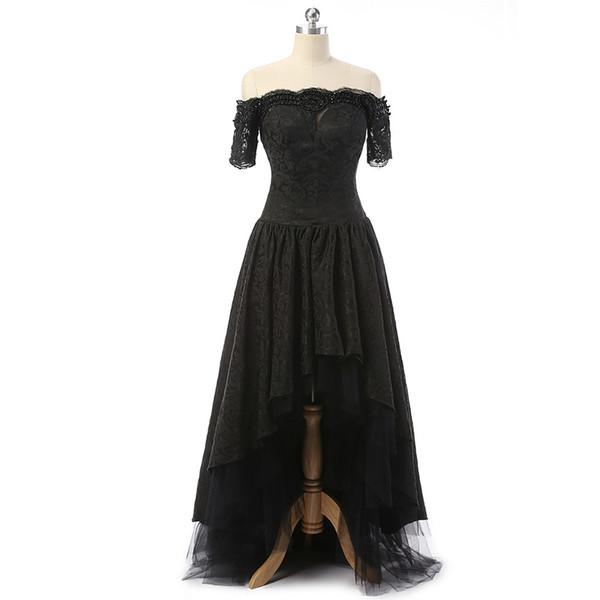 Black Prom Evening Dresses Hi-Lo Front Short Sleeve Long Back Long Elegant vestidos de festa Real Custom Plus Size For Formal Occasion