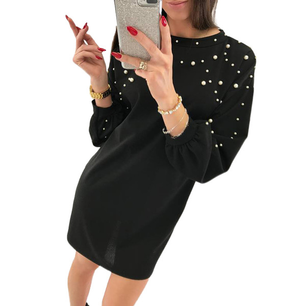 2018 Women Long Sleeves Dress Pearl Beaded Dropped Shoulder Female Party vestidos Lantern Cuff Loose Casual Tunic Shift Dresses