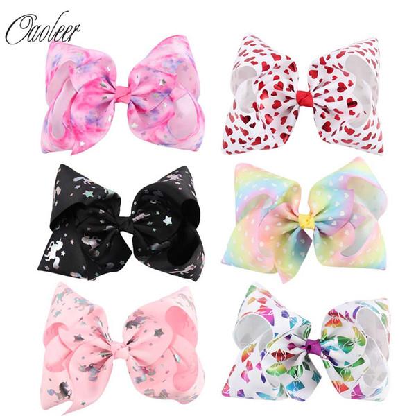 "7/""Jumbo Hair Bows For Girls Heart Printed Rainbow Hair Bow With Alligator Clip"