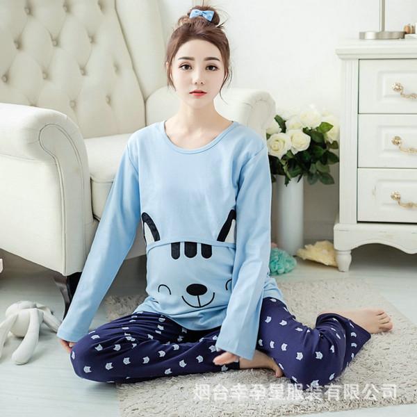 859d5d819 Mães Maternidade Roupas de Maternidade Camisola de Amamentação Gravidez  Sleepwear para Mulheres Grávidas Enfermagem Pijama Set