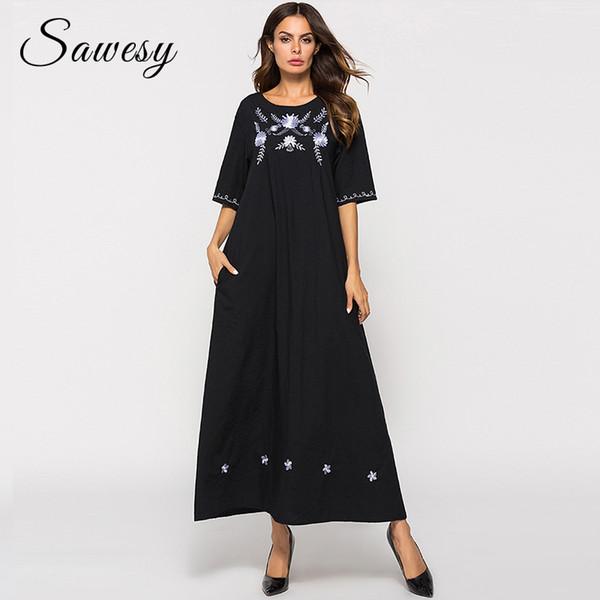 Plus Size Vintage Long Maxi Dresses Women Fashion 2018 Embroidery Cotton and Linen Dress Half Sleeve Casual Loose Black Dress