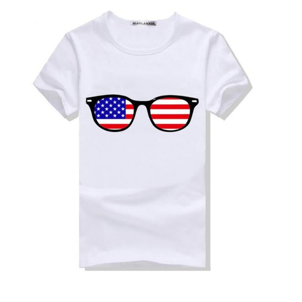 Fashion Men's T-shirts with Glasses and US Flag Printing Shirt 2018 New Arrival Comfortable Cotton Blend Size S-4XL