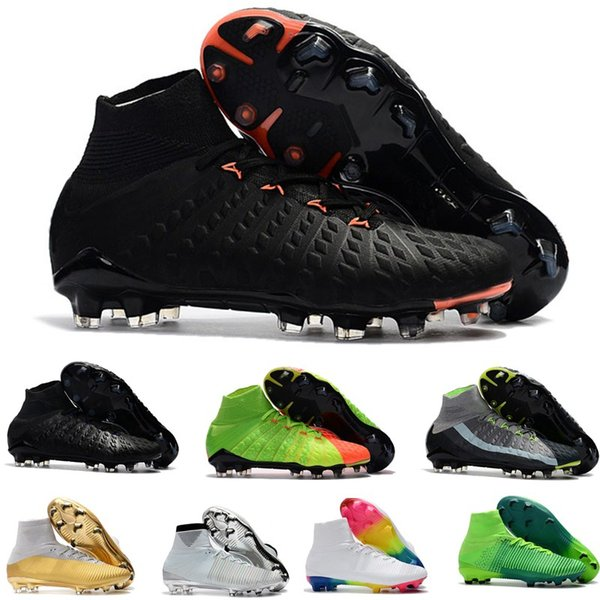 Mens Hypervenom Phantom soccer cleats kids high ankle Football boots Mercurial Superfly FG Women Soccer shoes predator cr7 35-45