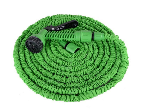 best selling 100FT Expandable Flexible Garden Magic Water Hose With Spray Nozzle Head Blue Green with retail box Free Shipping 5