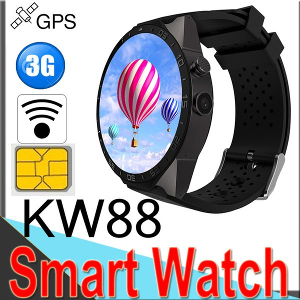 KW88 3G Smart watches Quad Core support 2.0MP Camera 1.39 inch Bluetooth SIM Card WIFI GPS Heart Rate Monitor for Android XCTKW88
