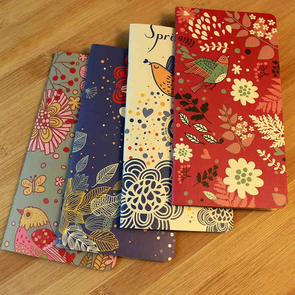 24 pcs/Lot Blooming flower diary book Vintage spring birds kraft paper notCaderno Stationery Office School Supplies 6474